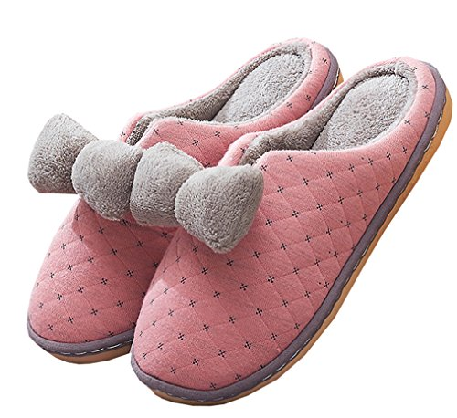 Blubi Womens Bowknot Terry Comfort House Slippers Ladies Slippers Pink