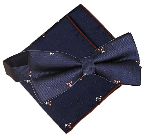 Flairs New York Pet Lovers' Collection Bow Tie & Pocket Square Matching (Corgi Tie)