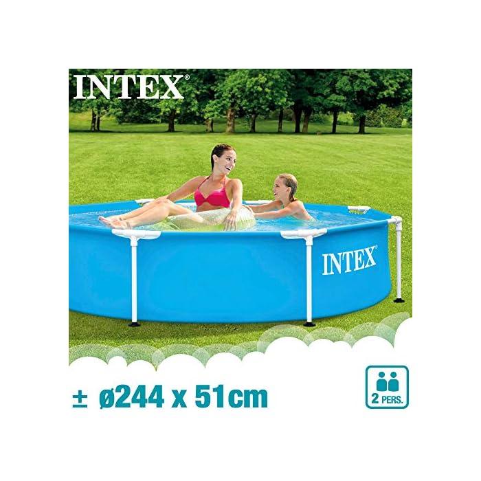 51OahZzWlwL Piscina tubular redonda INTEX con medidas Ø244 y 51 cm de altura óptimo para que los niños disfruten de un verano refrescante Material: fabricada con estructura de tubos de acero con protección antióxido y lona PVC triple capa Capacidad: piscina con capacidad para 1.828 litros de agua