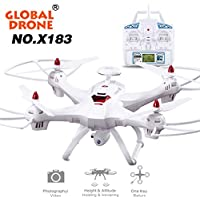 Brushless Quadcopter Drone- Ruhiku GW Global Drone 6-axes X183 With 2MP WiFi FPV HD Camera GPS Brushless Quadcopter (White)