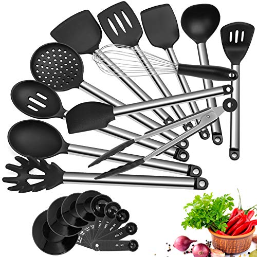Kitchen Utensil Set, 21 Piece AILUKI Cook Utensil Set Silicone Cooking Utensil Set Stainless Steel Utensils Cookware Set, Great Kitchen Tools for Gift
