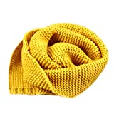 Dolores Kids Soft Knitted Scarf Fashion Solid Color Infant Toddler Warm Scarves Muffler Winter Wrap Shawl Yellow