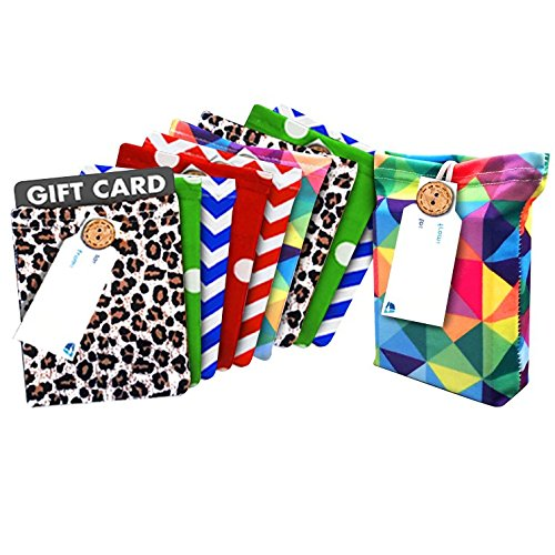 Tags Gift Free Print - Gift Card Holder Set for All Occasions- New, Stretchy & Reusable-10 Gift Card Holders with 10 Free Gift Tags | Fun Prints | Great for Birthdays, Graduation, Parties & Holidays