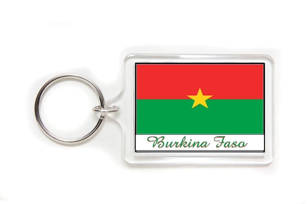 Souvenir Burkina Faso Flag Double Sided Acrylic Key Ring Large