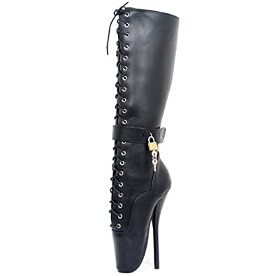 180a23b5371 JiaLuoWei Women High Heels Boots Lace-up Lockable Knee High Ballet Sexy  Fetish Boots 18cm