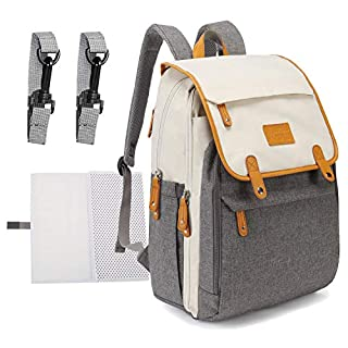 BUG Diaper Bag Backpack, Baby Bag Organizer with Changing Pad, Stroller Straps, Large Capacity, Waterproof and Stylish School Bag