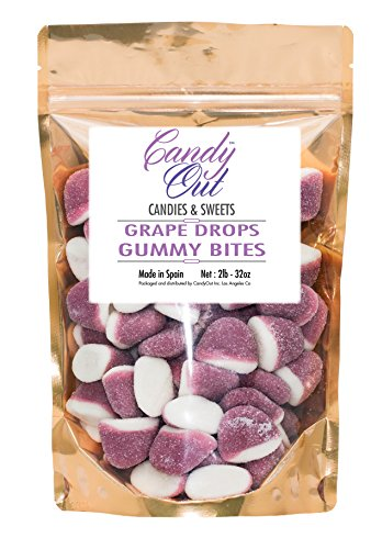 CandyOut Grape Pufflette 2 Pound Purple Gummy Candy Bites in Stand-up Bag
