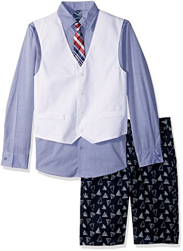 Nautica Little Boys' Set with Vest, Pant, Shirt, and Tie, Sailboat White, 7 by Nautica