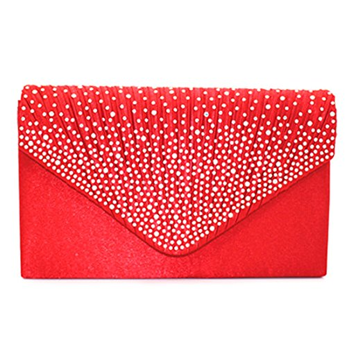Evening Luxury Red Elegant Rhinestone Wedding Cocktail Envelope Bag Bags Clutch Satin Women Shoulder for Party qCEC1wa