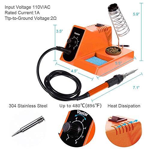 Vastar Soldering Iron - Soldering Iron Station, Anti-Static Soldering Iron Station Kit with On-Off Switch Temperature Adjustable