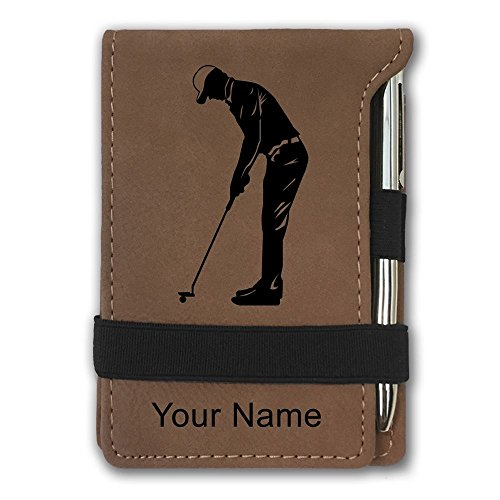 Golf Notepad (Mini Pocket Notepad - Golfer Putting - Personalized Engraving Included (Dark Brown))