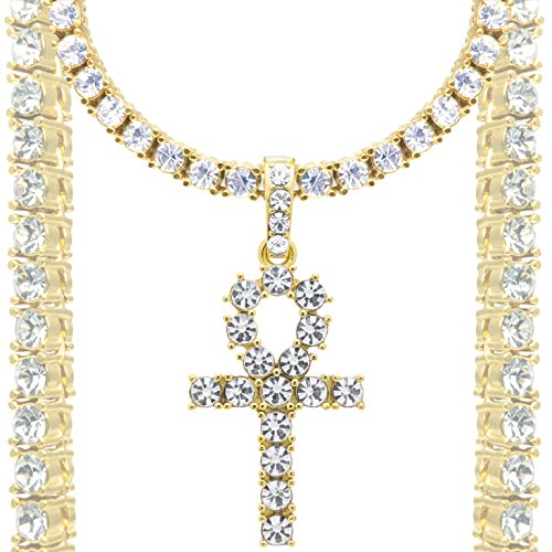 DubaiLink Ankh Cross Pendant + Diamond Tennis Chain Chain 18k Gold & Gift Box (22