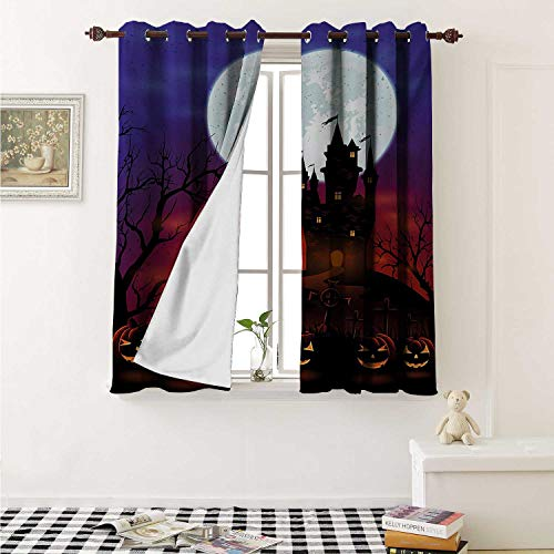 Flyerer Halloween Decor Curtains by Gothic Haunted House Castle Hill Valley Night Sky October Festival Theme Print Curtains Girls Bedroom W63 x L63 Inch Multicolor -