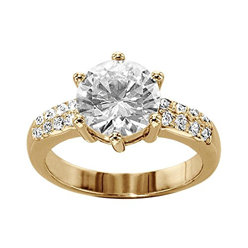 So Chic Jewels - Vermeil - Silver Gilt (18k Gold over 925 Sterling Silver) Ladies White Cubic Zirconia Solitaire Engagement Ring - Size 8.5