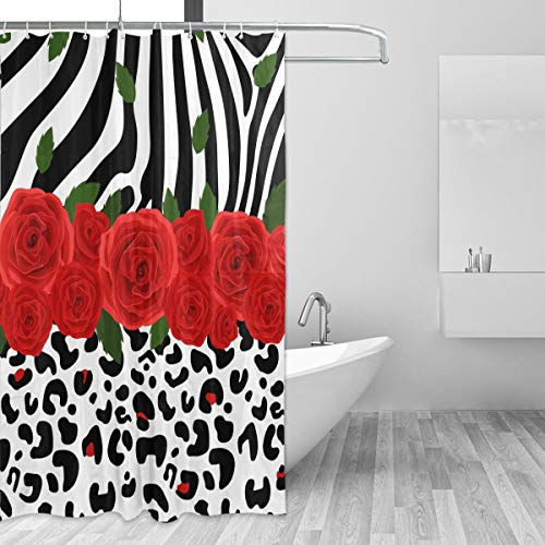 eopard Zebra Print Shower Curtain, Waterproof Polyester Bathroom Shower Curtains, 72 x 72 Inch ()