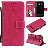 Galaxy J7 2016 Floral Wallet Case,Galaxy J7 2016 Strap Flip Case,Leecase Embossed Totem Flower Design Pu Leather Bookstyle Stand Flip Case for Samsung Galaxy J7 2016-Red