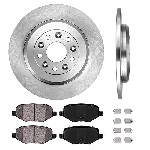 REAR 329.95 mm Premium OE 5 Lug [2] Brake Disc Rotors + [4] Ceramic Brake Pads + Clips