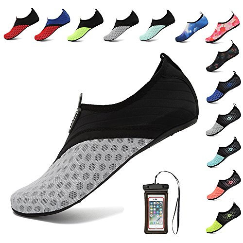 Waterproof Water Shoes Aqua Men Dry Quick Women 2gray Beach Barefoot For Bag Skin Breathable With Hooyfeel Phone 56qFw