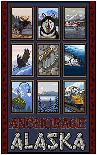 Anchorage Alaska Collage Travel Art Print Poster by Paul A. Lanquist (24