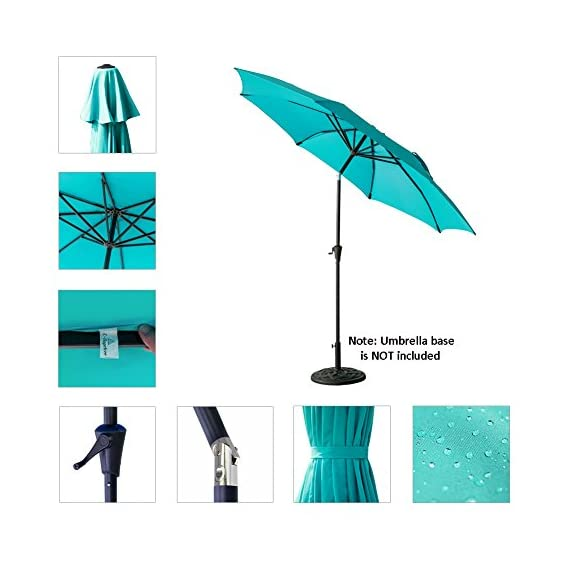 C-Hopetree 11' Outdoor Market Umbrella with Aluminum Pole and Tilt for Outside Patio Table Pool Garden Shade Yard or Balcony, Aqua Blue - IMPACT RESISTANT - Fiberglass rib tips provide peace of mind for those accidental blow overs. NOTE: The umbrella is NOT wind rated. To avoid damage it must be closed and secured in winds above 5 mph. DELUXE FABRIC - For optimal sun protection shading and shelter. Search B06XTZ76YG for a matching PROTECTIVE STORAGE COVER. PREMIUM CRANK MECHANISM for effortless opening and smooth closing of your patio umbrella. NOTE: Base weight is not included. Search B0797VXG5W for a matching weighted stand. - shades-parasols, patio-furniture, patio - 51OajijmWrL. SS570  -