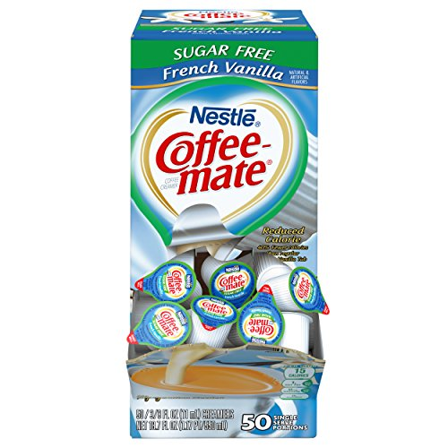 NESTLE COFFEE-MATE Coffee Creamer, Sugar Free French Vanilla, liquid creamer singles, 50 Count (Pack of 1)