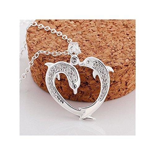 Collier deux dauphins cristal swarovski elements argent 925