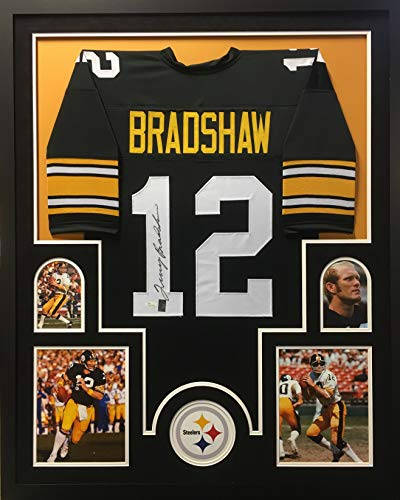 29eba2b6740 Terry Bradshaw Pittsburgh Steelers Autograph Signed Custom Framed Jersey  Black Suede Matted GTSM Bradshaw JSA Witnessed Certified