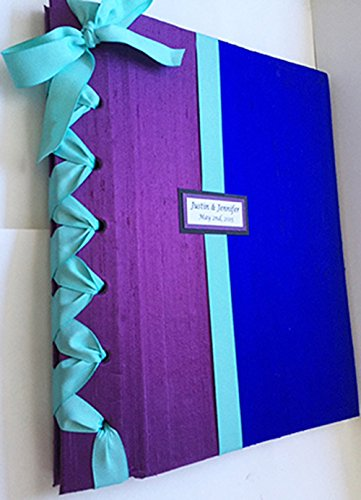 Custom Wedding Photo Album - Personalized Photo Album - Purple, Royal Blue and Mint (Custom Colors Available) by Michelle Worldesigns