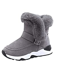 KONFA Teen Baby Boys Girls Winter Warm Fur Flock Snow Boots,for 3.5-12 Years,Kids Rubber Sole Anti- Slip Bootie Sneakers Set