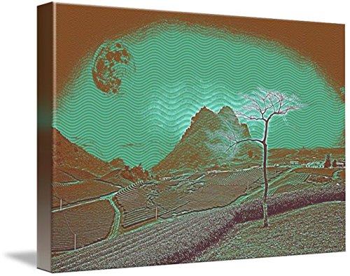 Hill Moc - Wall Art Print entitled Moc Chau Hill Heart Tea Plantation Travel Poster 3 by Celestial Images | 10 x 7