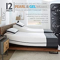 "The Ananda sleep system consists of a mattress and adjustable base. Enjoy our 12"" Pearl and Gel infused premium memory foam mattress beautifully wrapped with an integrated cooling cover, offer you medium firm support as you sleep. The include..."