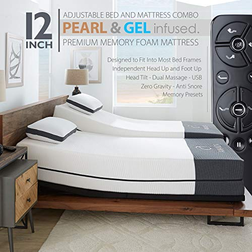"Ananda 12"" Split King Pearl and Cool Gel Infused Memory Foam Mattress with Premium Adjustable Bed Frame Combo, Head Tilt, Massage, USB, Zero Gravity,Anti-Snore"
