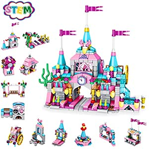 Best Epic Trends 51OakE3CPwL._SS300_ Holiky Girl Toys for 6-12 Years Old, STEM Princess Castle Building Stacking Block Sets for Kid's Basic Skills Learning…