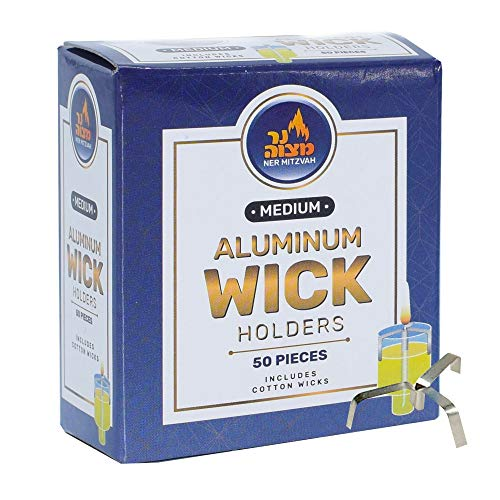 Aluminum Wick Holders - 50 Pack (Approx.) - for Stand Up Wicks in Oil Cup Candle - Multipurpose Use - by Ner Mitzvah