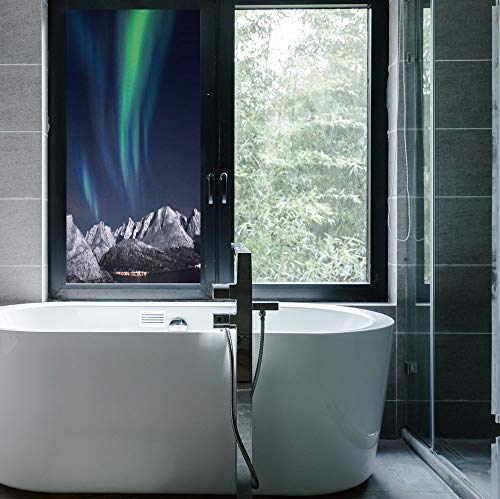 C COABALLA The Visual Effect of Textured Glass and Stained Glass,Sky Decor,is Good for Long Year Under The Sunshine,Northern Lights Aurora Over Fjords Mountain at Night,24''x48'' Aurora Stained Glass Mirror