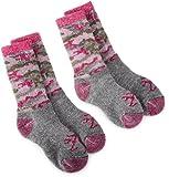Browning Hosiery Girls' Pink Camo Kids Wool Blend Sock, 2 Pair Pack