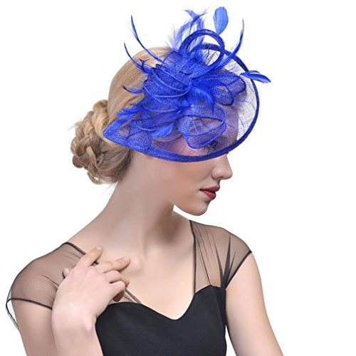 Sinamay Feather Fascinators Womens Pillbox Flower Derby Hat for Cocktail Ball Wedding Church Tea Party (Blue)