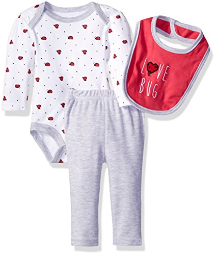 Round Ladybug - Rene Rofe Baby Girls' Turn-Me-Round 3pc Set with Long Sleeve Bodysuit, Bib and Pant, Magenta Lady Bug, 3-6 Months