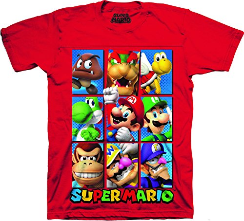 Nintendo Boys' Super Mario Characters Short Sleeve Crewneck T-Shirt Red 5/6