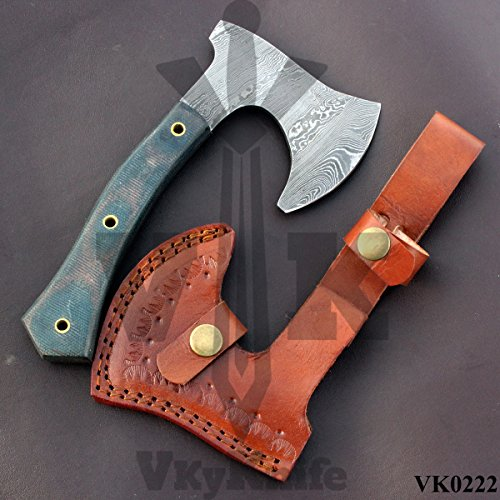 CUSTOM HANDMADE DAMASCUS AXE – 07.50 Inches MICARTA HANDLE AXE VK0222