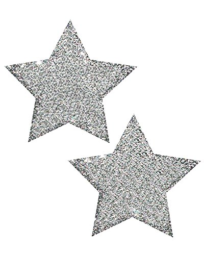 Pastease Silver Glitter Star Rave Pasties (Set of 2 Pasties)