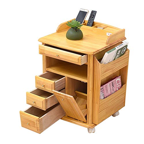Side End Table Nightstand Coffee Table| Pine Wood Newspaper Magazine Rack Storage Cabinet Bookcases Telephone Table|Storage Drawer|Universal Wheel|Safety Rounded Corner Design AA~
