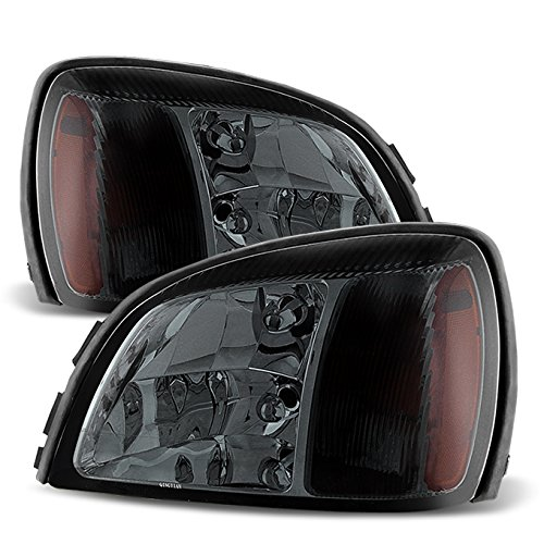 (For Smoked Smoke 00-05 Cadillac Deville Headlights Front Lamps Direct Replacement Pair Left + Right)