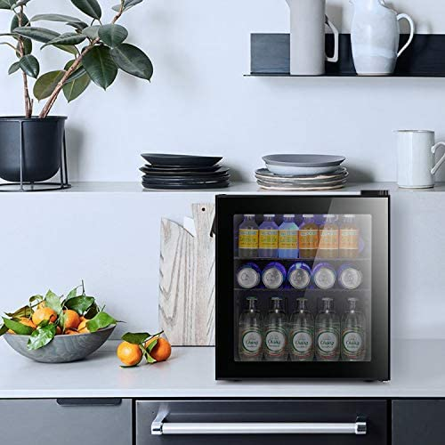 Antarctic Star Mini Fridge Cooler - 60 Can Beverage Refrigerator Glass Door for Beer Soda or Wine – Glass Door Small Drink Dispenser Machine Black Glass Removable for Home, Office or Bar, 1.6cu.feet.