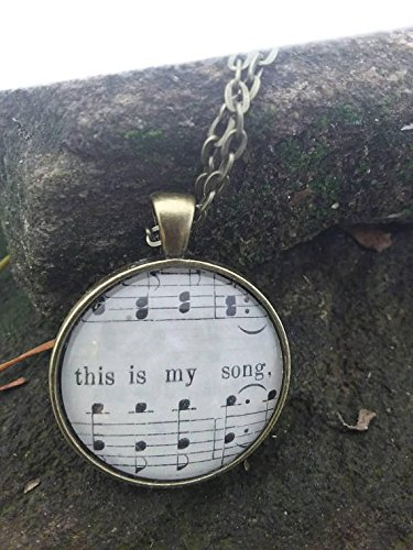 Blessed Assurance 'This is my song' Vintage Hymn Book Necklace Church Pendant, Music, Hymnal, Spiritual
