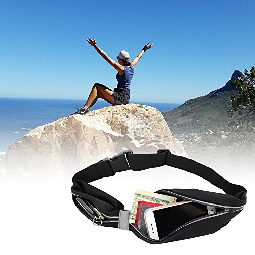 TRINITAS STYLISH Water proof reflective Sports Running Belt- Quick buckle Fanny Pack - Elastic Money Belt for big phones like iPhone 7 plus - adjustable belt from XS to XL (Black) by Trinitas Sports (Image #8)