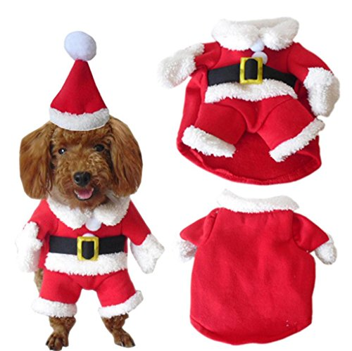 PetBoBo Pet Dog Cat Christmas Costumes Suit with Cap Santa Suit for Small Medium Large Dogs Cat Christmas Boy Girl Hoodies Soft Dog Clothes Costumes M -