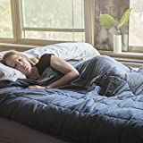 Large Weighted Blanket for Adults (60'' x 80'', 15lb, Queen Size) - Perfect Heavy Blanket for Anxiety, Autism, and Sensory Relief - 100% Cotton, Dark Grey Gravity Blanket - With Polyester Padded Inner