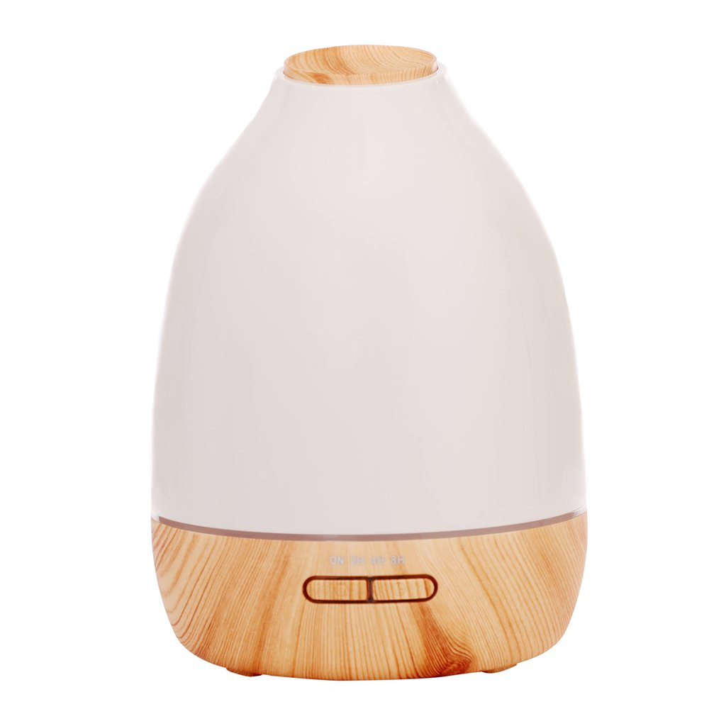Wansu 500ml Aroma Essential Oil Diffuser, Ultrasonic Cool Mist Humidifier Air Humidifier with 7 Color LED Waterless Auto Shut-off,for Home, Yoga, Office, Spa, Bedroom, Baby Room;Light Wood Grain