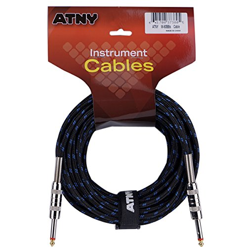ATNY Braided Electric Guitar Cable – Professional Grade Musical Instrument Amplifier Cord with Nickel-Plated Dual Straight Plugs and Blue Tweed Jacket [50 Feet]